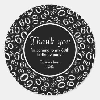 Danke: Schwarzweiss-60. Geburtstags-Party Runder Aufkleber