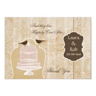 Danken brauner Vogelkäfig des Chic, Liebevögel 12,7 X 17,8 Cm Einladungskarte