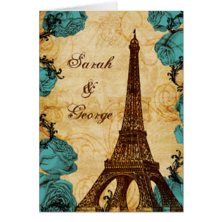 danken Vintager Eiffel-Turm Paris des Aqua Ihnen Karten