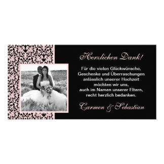 Danksagungskarte zur Hochzeit mit Damastmuster Individuelle Foto Karten