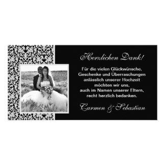 Danksagungskarte zur Hochzeit mit Damastmuster Photo Grußkarte