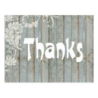 Dankt Vintages Grau beunruhigtes Holz Ihnen Postkarte
