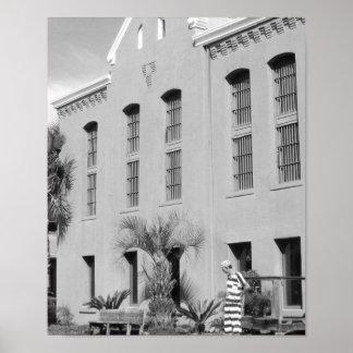Das alte Foto Gefängnis-St Augustine Florida B&W Poster