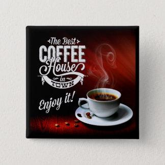 Das beste Café in der Stadt Quadratischer Button 5,1 Cm