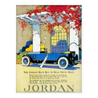 Das blauer Jungen-Vintage klassische Auto Postkarte