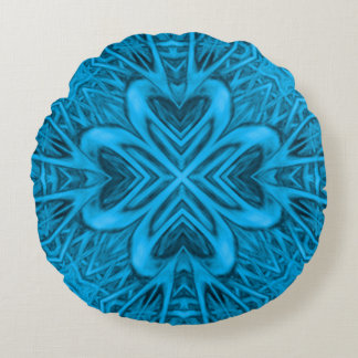 Das Blues-Kaleidoskop-Muster-runde Kissen
