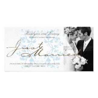 Das Blumen Aqua blühen Foto-Hochzeits-Mitteilung Individuelle Photo Karte