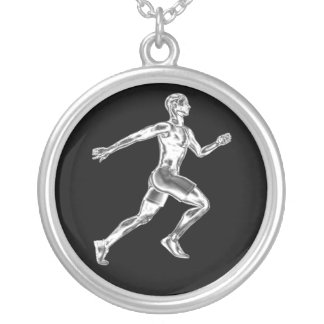 Das Chrom-Läufer-Halskette der Männer Halskette Mit Rundem Anhänger