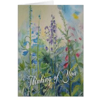 Das Denken an Sie kardieren - Garten-Blumen Grußkarte