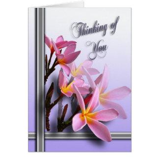 Das Denken an Sie kardieren - rosa Frangipani Grußkarte