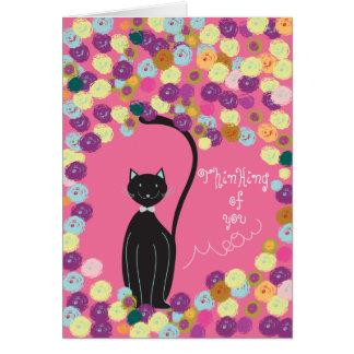 Das Denken an Sie kardieren schwarze Katze mit Grußkarte