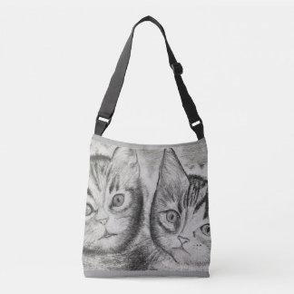 Das Duo der Kätzchen, einfarbiges Kunst ► Tragetaschen Mit Langen Trägern