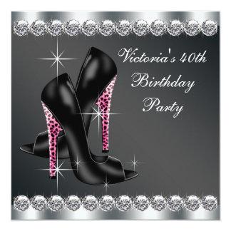 Das elegante Rosa-40. Geburtstags-Party der Frau Quadratische 13,3 Cm Einladungskarte