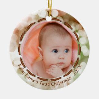 Das erste Weihnachten des Babys, Brown/Grün/Weiß, Keramik Ornament