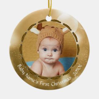 Das erste Weihnachten des Babys, Gold/weißer Keramik Ornament
