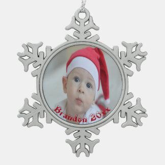 Das erste Weihnachten des Babys personalisiert Schneeflocken Zinn-Ornament