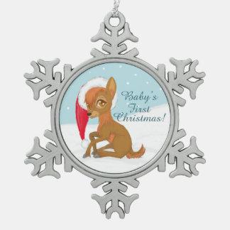 Das erste Weihnachten des Babys (Ren) Schneeflocken Zinn-Ornament