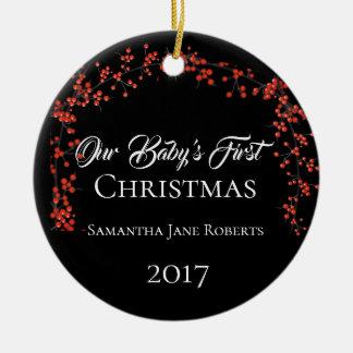 Das erste Weihnachten unseres Babys - Namensdatum Keramik Ornament