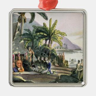 Das Expeditions-Party und der König Kamehameha I Quadratisches Silberfarbenes Ornament