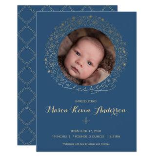 Das Foto-Geburts-Mitteilung des Jungen - religiös Karte