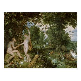 Das Garten Eden mit dem Fall des Mannes, c.1615 Postkarte