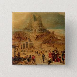 Das Gebäude des Turms von Babel (Platte) Quadratischer Button 5,1 Cm