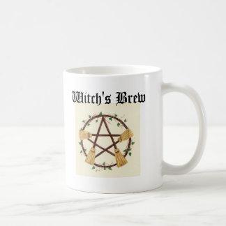 Das Gebräu Besen Pentagram Hexe Kaffeetasse