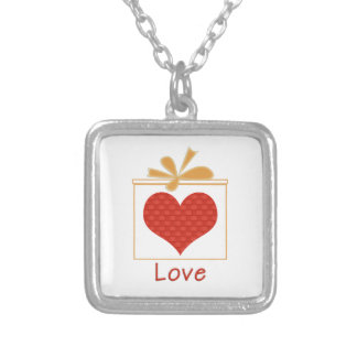 Das Geschenk der Liebe-Quadrat Silber-Überzogenen Versilberte Kette