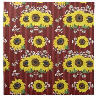 Das gestreifte rote frische Sonnenblume-nahtlose Stoffserviette