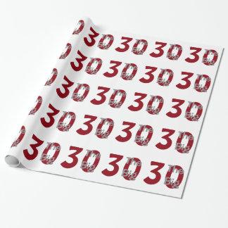 """Das große """"30"""", Geburtstag, Rot, weißer Text auf Geschenkpapier"""
