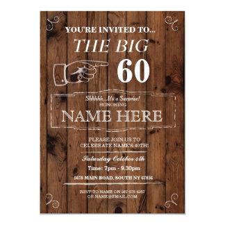 Das große Geburtstags-Party-rustikale Holz lädt 12,7 X 17,8 Cm Einladungskarte