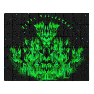 Das grüne Flammen-Monster im Starlight-Himmel Puzzle