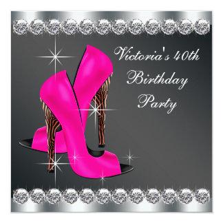 Das heiße Rosa-Geburtstags-Party der Frau Quadratische 13,3 Cm Einladungskarte