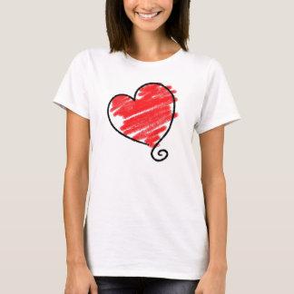 Das Herz-Gekritzel-T - Shirt der Frau