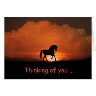 Das hübsche Pferd, das an Sie denkt, kardieren Grußkarte