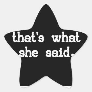 Das ist, was sie sagte - Büro-Sprichwort Stern Aufkleber