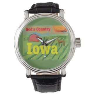 Das Land-Iowa-Staats-Land-Bauernhof-Uhr des Gottes Armbanduhr