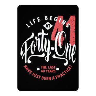Das Leben fängt bei 41% pipe% 41. Geburtstag an 12,7 X 17,8 Cm Einladungskarte