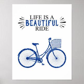 Das Leben ist eine schöne Fahrt - Fahrrad - weißes Poster