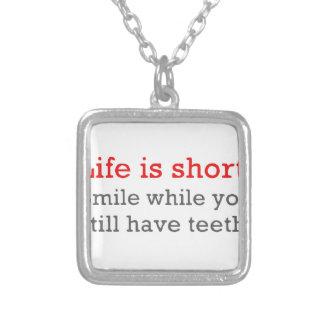 Das Leben ist, Lächeln kurz, während Sie noch Versilberte Kette