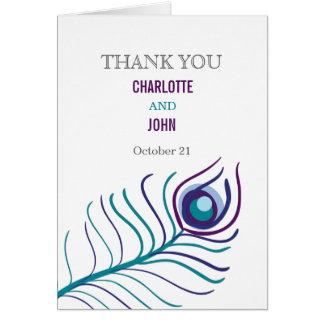 Das lila Mod, aquamarine blaue Pfauhochzeit danken Grußkarte