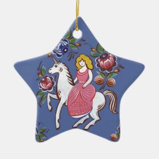 Das Mädchen und das Einhorn Keramik Stern-Ornament