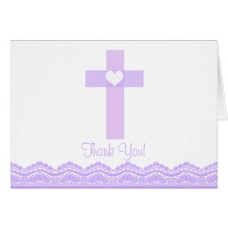 Das moderne lila religiöse Spitze-Kreuz danken Mitteilungskarte