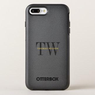 Das Monogramm-modernes unbedeutendes Schwarzes u. OtterBox Symmetry iPhone 8 Plus/7 Plus Hülle