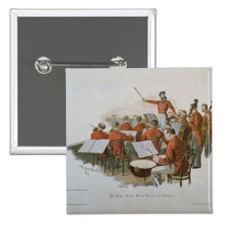 Das Orchester Johann Strauss an einem Gerichts-Bal Quadratischer Button 5,1 Cm