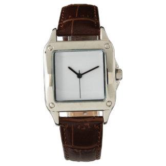 Das perfekte Quadrat-Brown-Lederband-Uhr der Uhr