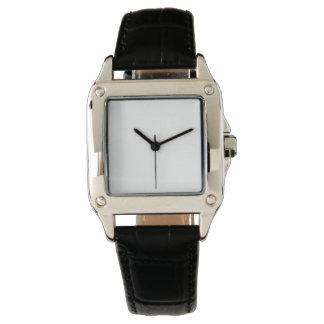 Das perfekte Quadrat-Schwarz-Lederband-Uhr der Uhren