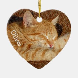 Das personalisierte Foto des Haustieres Keramik Herz-Ornament
