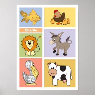Das Plakat des Tierillustrations-Name-Kindes