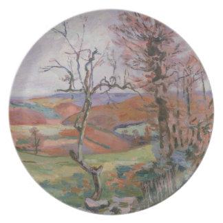 Das Puy Barion bei Crozant, Bretagne (Öl auf Leinw Party Teller